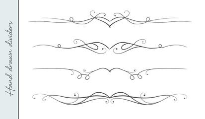 Vector hand drawn curve linear flourish, ornate text divider graphic design element set. Designer art border for Wedding invite card page decoration. Beauty calligraphic swirls, delicate motif pattern