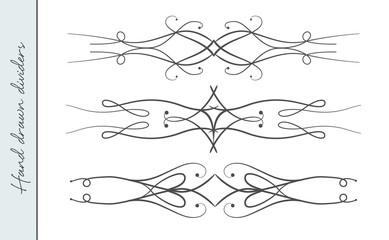 Vector hand drawn elegant flourish, ornate text divider, graphic design element set. Designer art vintage border for Wedding invite card, page decoration. Delicate swirls delicate calligraphy motif
