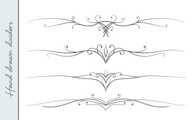Vector hand drawn elegant flourish, text divider, graphic design element set. Designer art border for Wedding invite card, page decoration. Elegant calligraphic swirls, dots delicate motif ornament