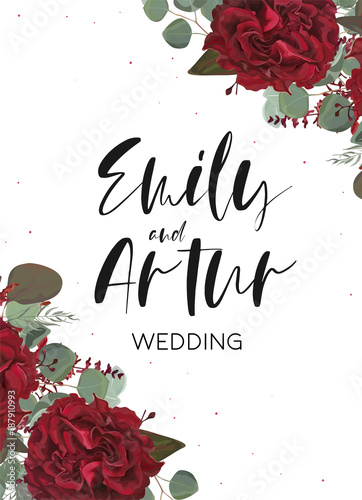 Quot Wedding Invite Invitation Save The Date Card With Vector Floral Bouquet Frame Design Red