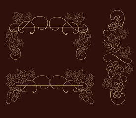 Decorative grapes. Decorative grapes, vine vector ornament. Abstract vector design element.