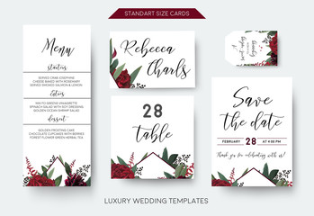 Wedding personal menu, table number, label save the date greeting card set. Vector watercolor floral bouquet decorative frame design: red burgundy Rose flower, green leaves Eucalyptus branch & berries