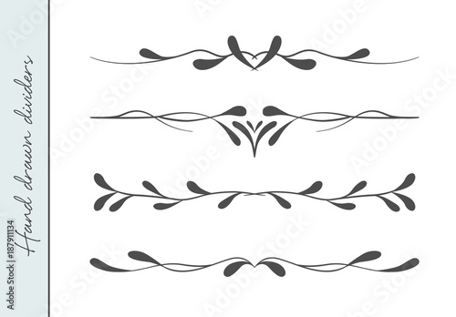 Vector Beautiful Flourish Text Divider Graphic Design Element Set Designer Art Border For