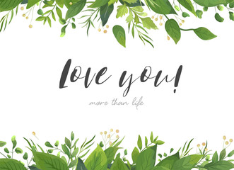 Vector Card Floral Design With Green Watercolor Fern Leaves