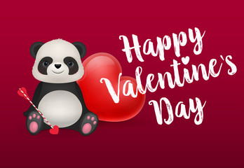 Happy Valentines Day Lettering with Panda