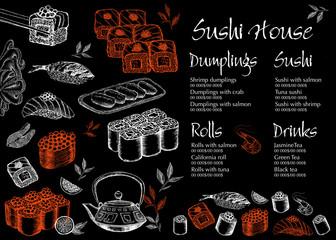 Sushi menu for restaurant and cafe.