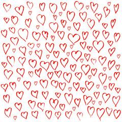 Hearts hand drawn