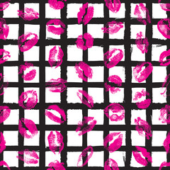 Female lips, mouth with a kiss stain, seamless pattern on pop up background. Retro style endless wrapping paper for Valentine day adult sex shop merchandise. Vector.