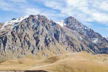 Landscape panorama caucasus mountain with autumn hills