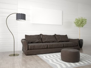 Mock up poster living room with a large comfortable sofa and a fashionable floor lamp.