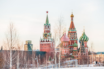 View of the St. Basil's Cathedral and Spasskaya tower of the Moscow Kremlin from the Park Zaryadye in winter