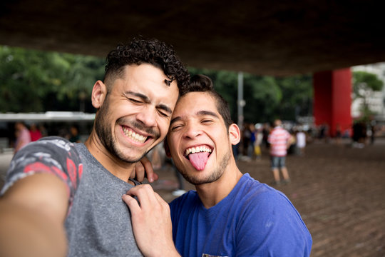 Homosexual couple talking a selfie