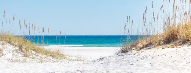 Pensacola Beach Panorama, Florida blauer Himmel und weißer Sand, Mexiko, Horizont, Florida, Paradies, Whitehaven, Fidschi, Mauritius, Malediven, Bora Bora, Hawaii