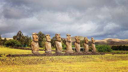 Ahu Akivi was the first restored Ahu, seven moai facing the rising sun, representing the seven scouts sent before the arrival of Hotu Matua, Easter Island
