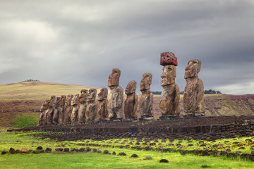 Ahu Tongariki, is the largest ahu on Easter Island, Chile