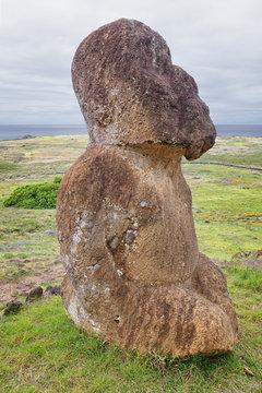 Tuku Turi, the only maoi kneeling or sitting in the quarry of Rano Raraku, Easter Island, Chile
