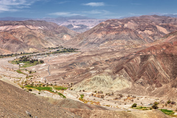 Landscape before reaching the town of Pachica in the Atacama Desert, in the Tarapaca Region, Chile.