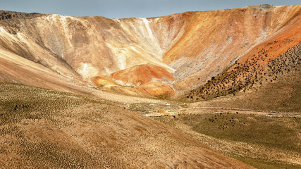 Crater of multicolored volcano, near the town of Cariquima and Colchane, in the Tarapaca region, Chile