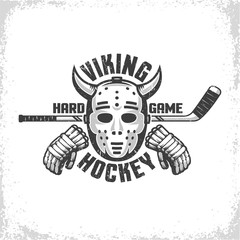 Hockey retro emblem for team, club, league. Goalie mask with Viking horns, stick and gloves. Vorn textures on separate layer and easily turn off.