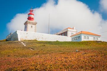 Portugese cliffs, Cabo da roca near Lisbon. Lighthouse