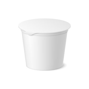 Vector realistic yogurt, ice cream or sour creme package on white backgrounnd. 3D illustration. Mock up of container with lid isolated. Template for your design. Side view. Diminishing perspective.