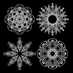 Monochrome abstract mandala sacred geometry, seed flower of life lotus isolated. Religion philosophy, spirituality occultism, sacred geometry, magic mystic, meditation. Vector.