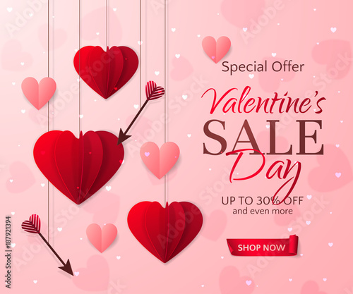 Vector romantic template of sale flyers and banners for ...