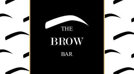 The Brow Bar design business card template for beauty studio with eyebrow and with eyebrows seamless print. Vector logo for beauty studio brow bar. Female graphic Eyebrow Illustration