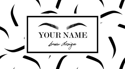 Brow design logo business card template with hand drawing eyebrow and with eyebrows seamless print. Vector logo for beauty studio brow bar, Female graphic Eyebrow Illustration