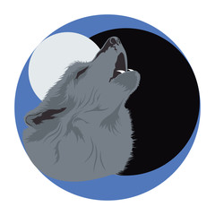 Wolf head poster. Dark. Vector illustration of a wolf howling at the moon.