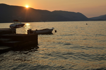 Boats on the Adriatic sea in summer sunset