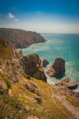 Portugese cliffs, Cabo da roca near Lisbon, view to the ocean