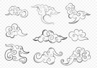 Oriental cloud ornament design with pen drawing line set. Vector on transparent background.