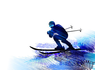 Skiing man. Vector illustration