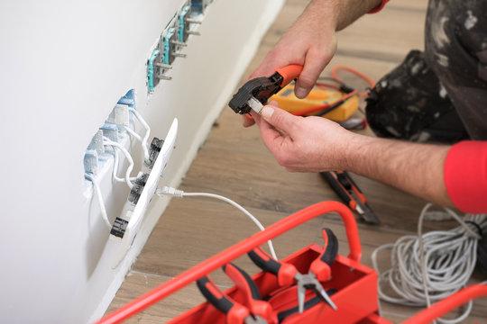 Handyman working , electrician worker