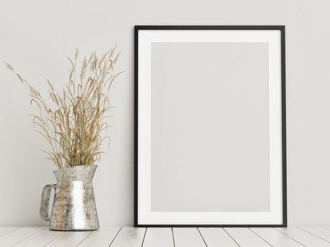 Empty mock up poster composition with blue vase with flower, 3d render, 3d illustration