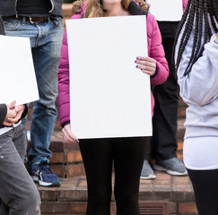 Protester Holding a Blank Sign