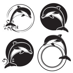 Set of vintage dolphin icons, emblems and labels with waves and water drops