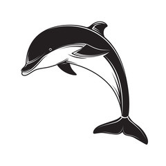 Dolphin icon black silhouette on white background. Dolphin emblem and label