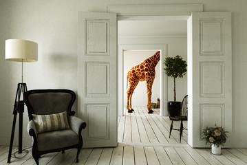 Giraffenwohnung mit mehreren Zimmern Wall mural
