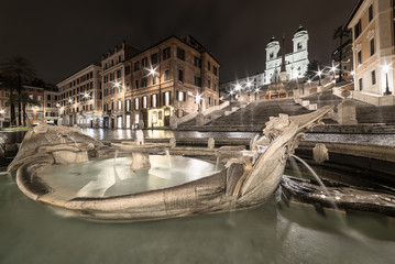 Spanish Steps and Barcaccia fountain at night, Rome - Italy - Christmas time