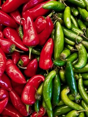 Red and green chiles on display
