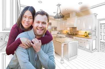 Mixed Race Caucasian and Chinese Couple In Front of Custom Kitchen Drawing and Photo Combination.