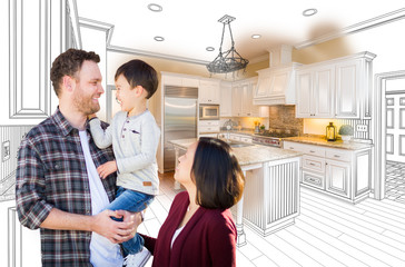 Young Mixed Race Caucasian and Chinese Family In Front of Custom Kitchen Drawing and Photo Combination.