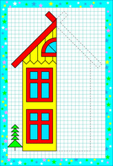 Educational page for children on a square paper. Need to draw the second part of house considering the symmetry. Vector image.