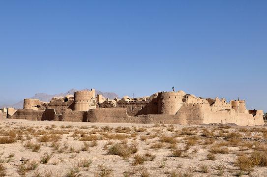Ancient Saryazd Mud Citadel in desert near Yazd town, Iran.