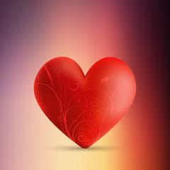 Valentine's day background with decorative heart on blur background