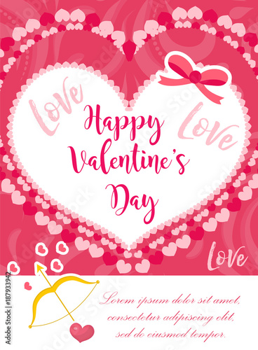Happy Valentines Day Cute Poster Invitation Greeting Card