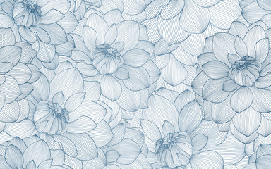 Seamless pattern with hand drawn dahlia flowers.