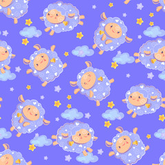 Seamless pattern of counting cute sheep to fall asleep. Cartoon happy jumping sheep with stars and clouds for baby boy. Vector background digital paper for print